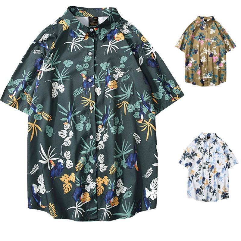 2020 Summer Collar de impresión de apertura de cama de los nuevos hombres Slim Fit de manga corta camiseta top de la blusa M-2XL vestido de camisa masculina Camisa Masculina
