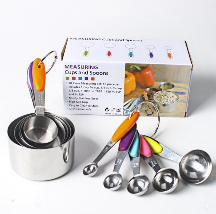 Establece vajilla de acero inoxidable de las tazas Set cuchara dosificadora de la cucharada de la torta molde de silicona de colores cocina de la manija Herramienta de medición LSK830