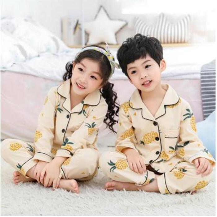 새로운 긴 소매 잠옷 세트 키즈 소녀 Pijama Infantil 카디건 아기 여자 옷 만화 잠옷 어린이 잠옷 잠옷