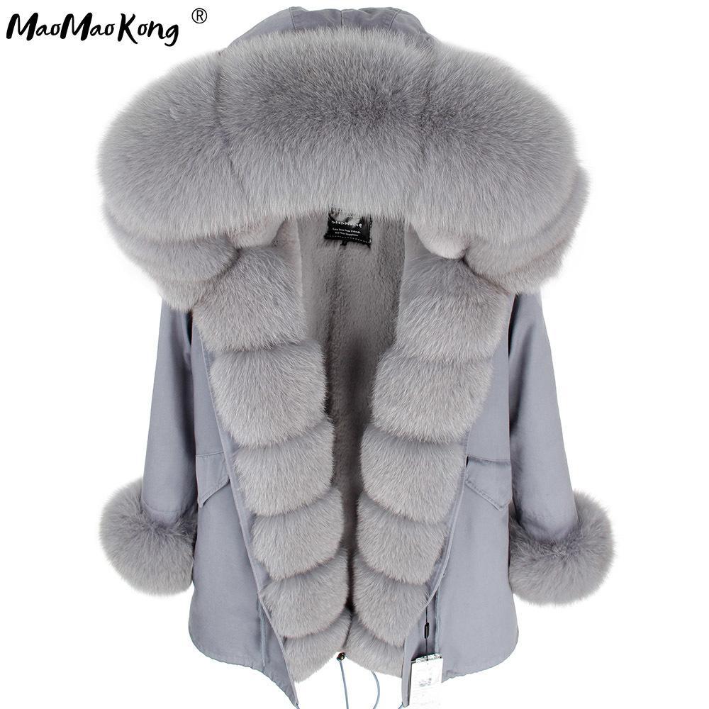 maomaokong Gri Doğal Gerçek Fox Kürk Ceket Palto Kadınlar Moda Gerçek Kürk Uzun Parkas Kış Siyah Parka C0924