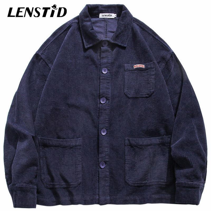 Erkekler Hip Hop Kadife Düğme Ceket WINDBREAKER Harajuku Streetwear Vintage Retro 2020 Sonbahar Dış Giyim Track Jacket Coats