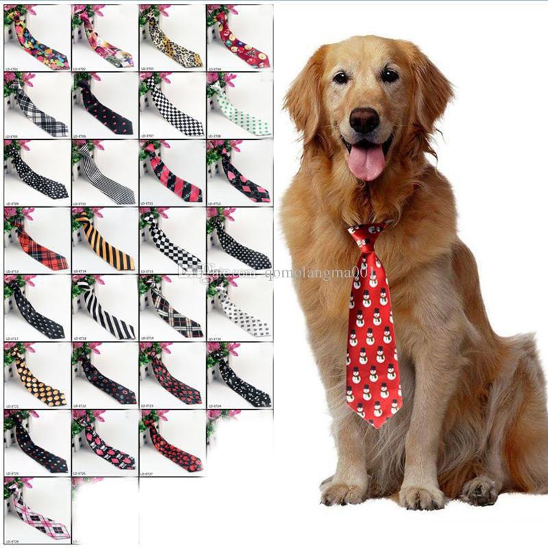 Big Large Dogs Ties Neckties For Medium Big Pet Polyester Silk Dress Up Neck Tie Dog Grooming Supplies 30 colors