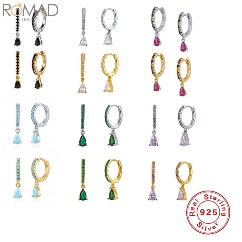 Romad argento 925 orecchini a cerchio per le donne colorato zircone orecchino di goccia dei cerchi del turchese Earings Pendientes gioielli di lusso