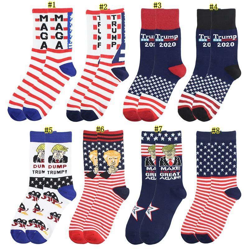 Trump calcetines que Estados Unidos sea grande otra vez la bandera nacional de rayas de las estrellas medias divertido ocasional de las mujeres de los hombres de algodón calcetines DHE418