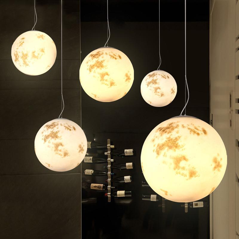 Moderne LED-Mond hängende Lichter Loft Kronleuchter Schlafzimmer Einzelpendelleuchten Nordic Leuchten Raumpendelleuchten Wohn-