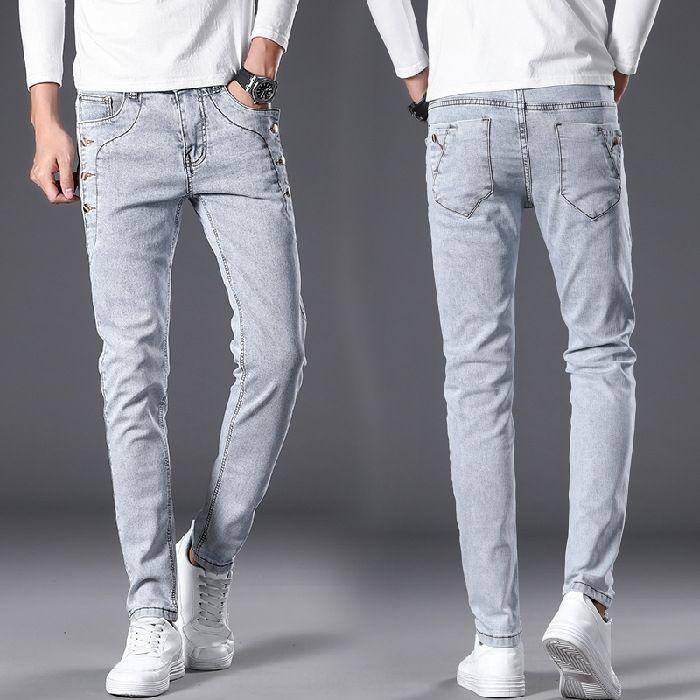 PiOJ6 8913 # de los hombres grises coreanos del estiramiento delgado y mediados de cintura y pantalones vaqueros pantalones vaqueros encajan humo pantalones de moda estilo de los hombres de moda