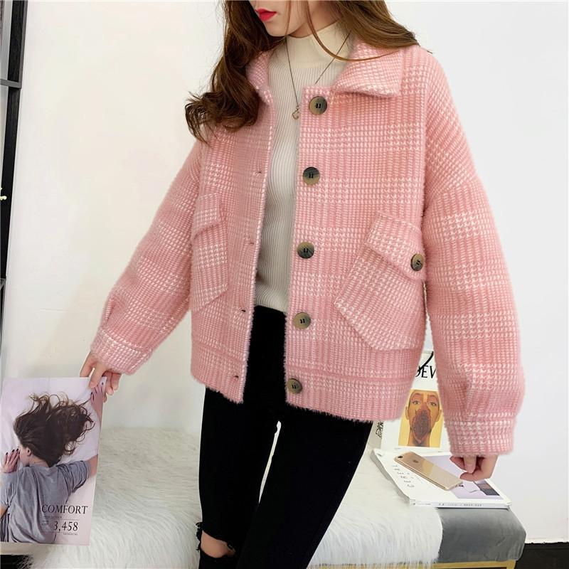 uwTSW 6H9Kn imitation manteau court automne / hiver manteau 2020 femmes Nouveau gilet de style coréen Xiaoxiang Fengwang rouge court vison Top Pull à carreaux