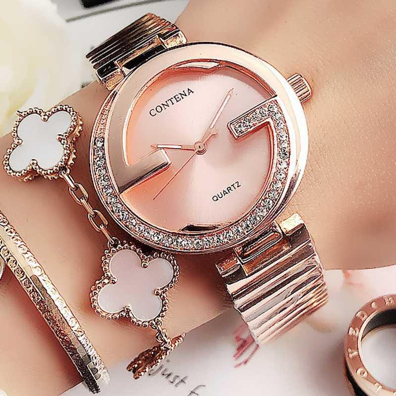 Los relojes de cuarzo Montre Femme 2020 New Rose relojes de oro de mujeres famosas Top Damas de acero inoxidable pulsera de mujeres