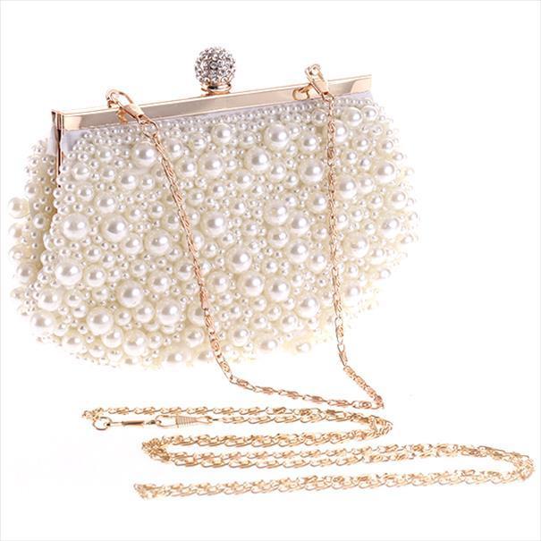 Borse da sera sera di cerimonia nuziale della frizione della borsa Pearl Dress sacchetto del pranzo piccola borsa da damigella d'onore borsetta bianca