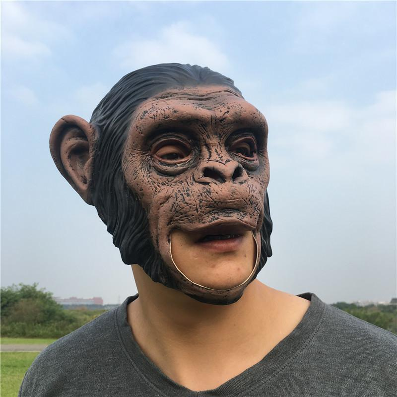 1pcs Masques réalistes Orangutan latex animal facial singe Masque Masque Effrayant Halloween Party cosplay Prop mascarade Déguisements Y200103