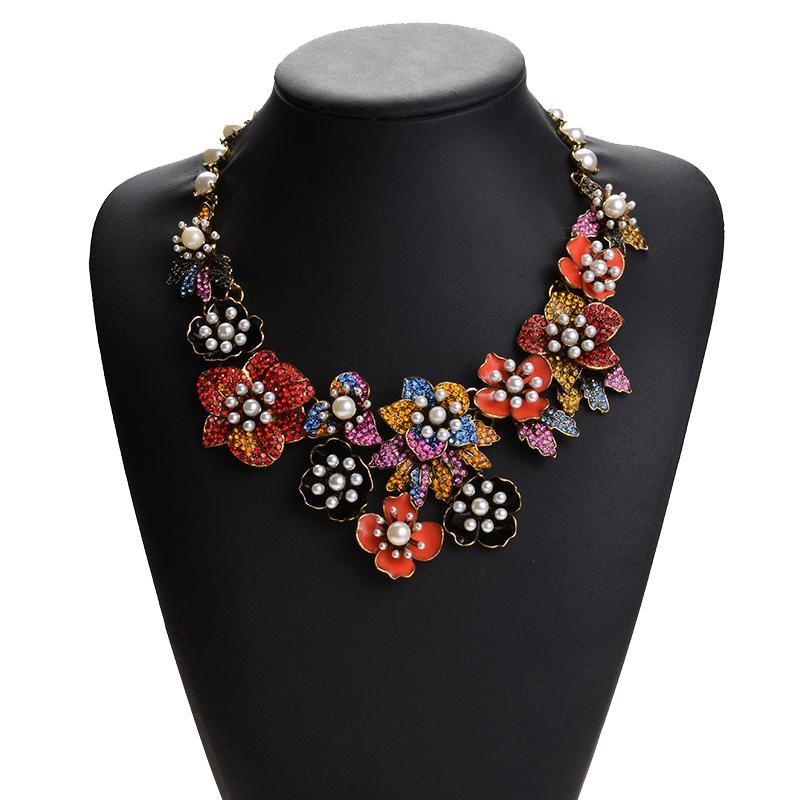 Luxury Rhinestone Pearl Flowers Large Collar Choker Necklace Women Fashion Enamel Big Bib Choker Necklace Ethnic