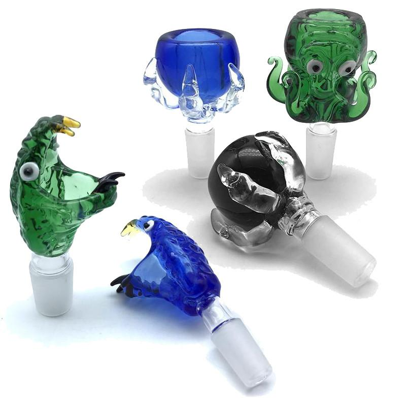 Los estilos mezclados de vidrio tuberías de agua accesorios de fumar cachimba con aparejo de aceite 14 mm 18 mm unión macho