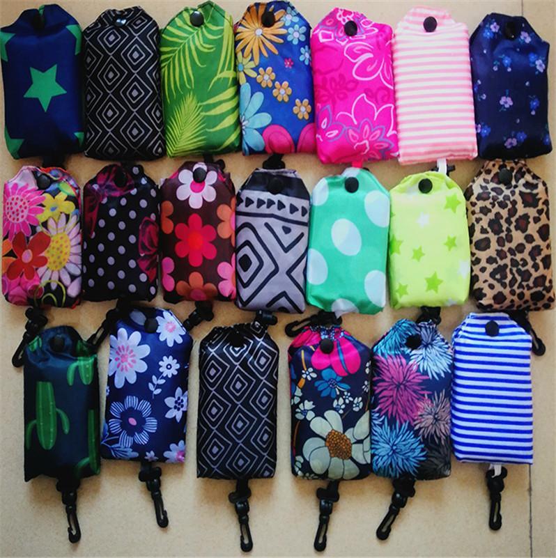 Mulheres Nylon dobrável sacos de compras reutilizáveis Household ecologicamente correta Folding Bag Sacos Senhoras sacos de armazenamento Protable gancho Totes E81801