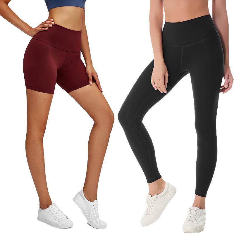 عاريا المواد النساء السراويل اليوغا LU الصلبة ملابس اللون الرياضة رياضة اللباس ارتفاع الخصر مطاطا للياقة البدنية سيدة عموما الجوارب تجريب