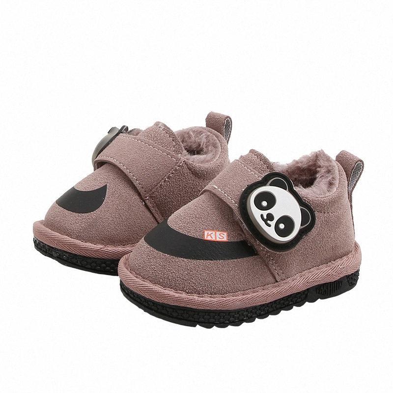 Зима плюс бархат ребенка малыша хлопка обувь 1-2-летние мальчики девочки толстые мягкие донные ребенка дети теплый нескользящей снегоступы Ewha #