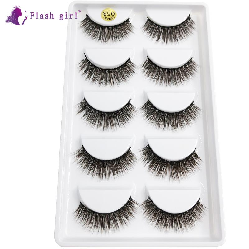Flash Girl 3D Mink Lashes Faux Cils dramático maquillaje de las pestañas de visón latigazos completos de alto volumen reutilizable 058