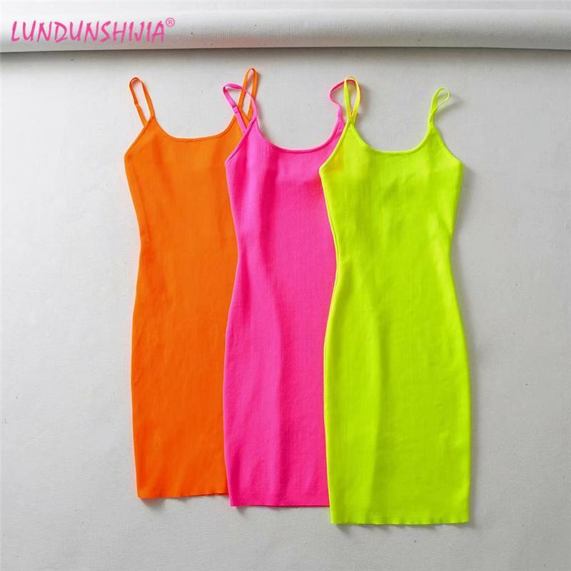 LUNDUNSHIJIA fluorescencia estiramiento Knitting Mini Dr. partido de las mujeres Slim Fit correas Sexy Dres Vestidos Femme