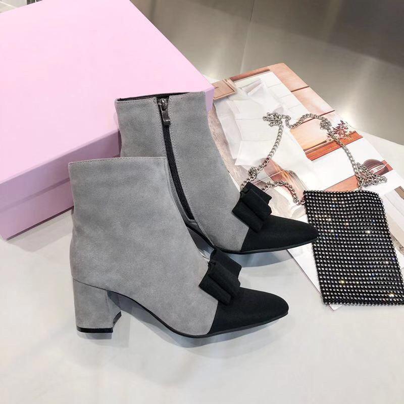 Botas cortas 2021o nuevo de la manera gruesa soled Mujer Viento británico Martin botas de moda salvaje de encaje, original caja de embalaje, Tamaño: 35 -40