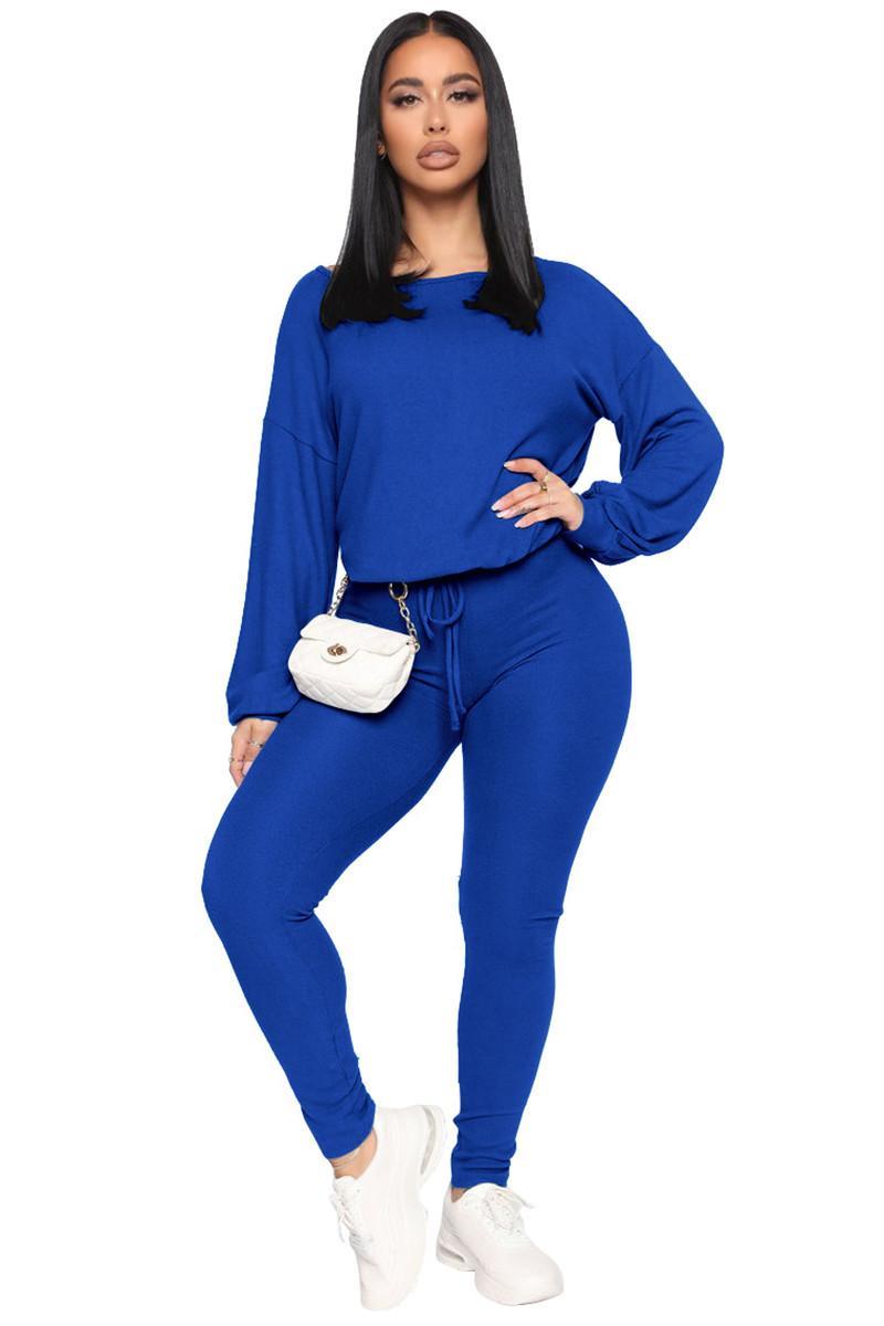 Womens Zwei Stück Hosen Rundhalsausschnitt Modesport Zwei Teile Sets Casual Womens Slim Bekleidungsdesigner