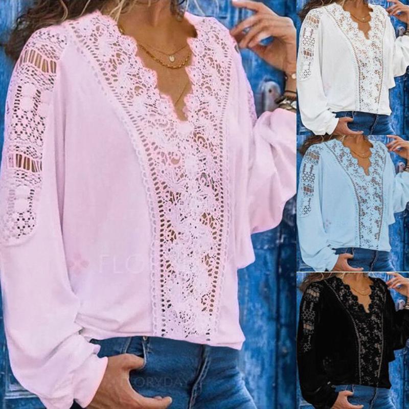 Plus Size Moda Lace oco Blusa Sexy V-Neck Tops T Casual Ladies Autumn Feminino Mulheres manga comprida Blusas pulôver