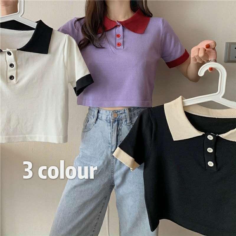 Gaq5M 2020 nuevo estilo de Corea del verano superior contraste cuello de polo personalizada El color del pelaje T- camisa corta de punto de manga corta ocasional de la camiseta de las mujeres