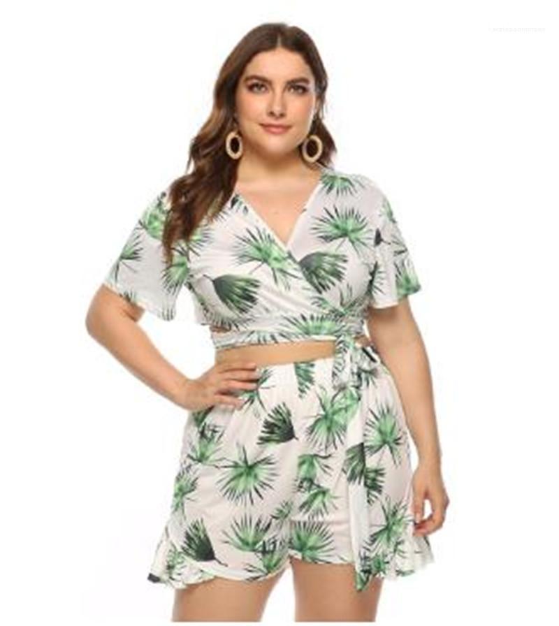 Faldas de Bohemia Casual mujeres del estilo Pantalones cortos de diseño más el tamaño de la impresión floral de la alta cintura de la pierna ancha Mini