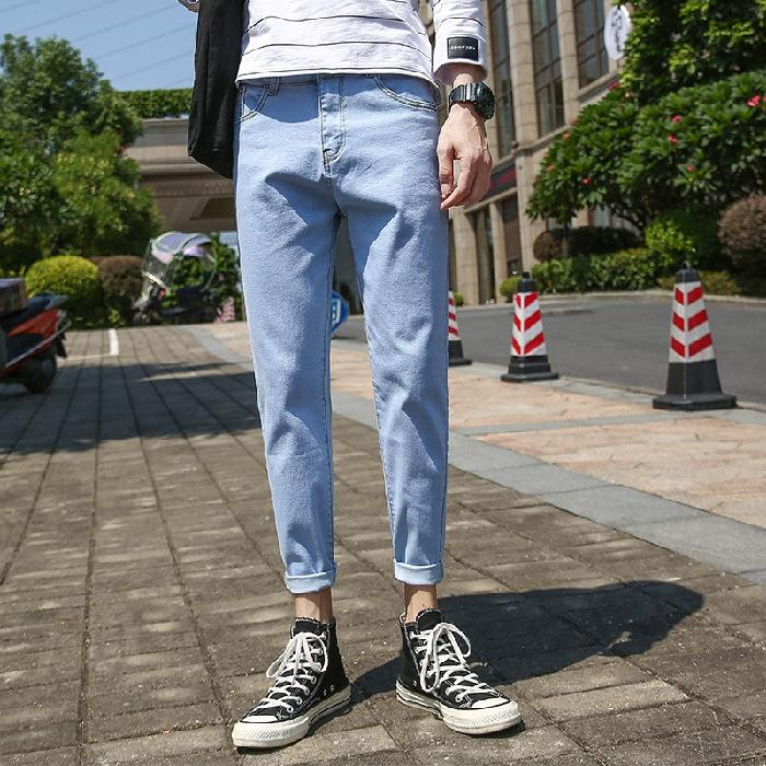 Осень новый 9-точечная мужской Корейский стиль моды микро-эластичный тонкий подходит для подростков студентов все-матч и джинсы Брюки и джинсы брюки
