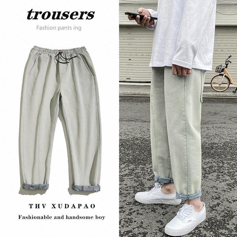 Jeans cordonnet Mode pour hommes Washed Casual Retro Jeans Straight Men Streetwear sauvage lâche Hip Hop Denim Pants Mens M-5XL RrI9 #