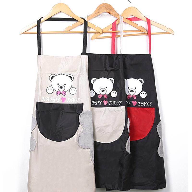 주방 보조 남여 곰 만화 인쇄 민소매 하우스 키핑 성인 앞치마 핸드 수건