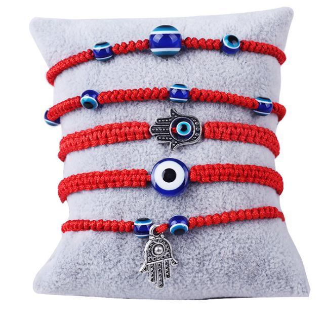 6 Stili Braccialetto Avvolto Accensione Rossa Lucky Filo di corda rossa Blu Evocato Eye Gioielli Fatima Amicizia