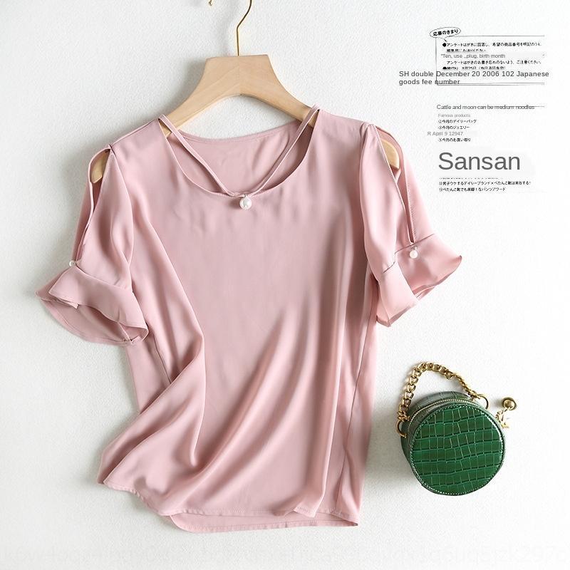 2019 estate open-spalla camicia Pearl CltJL 1GCuY F0513-Wind nuovo V-collo vuoto-fuori della camicia manicotto del corno abbigliamento Abbigliamento Pearl Donne per wome