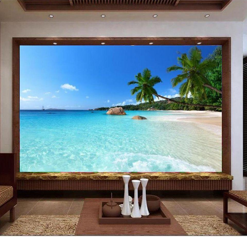 benutzerdefinierte Größe 3D-Fototapete Wohnzimmer Wand Meer Fenster Strand Kokospalme 3D-Bild Sofa TV Kulisse Tapete Wandbild Vlies-Aufkleber