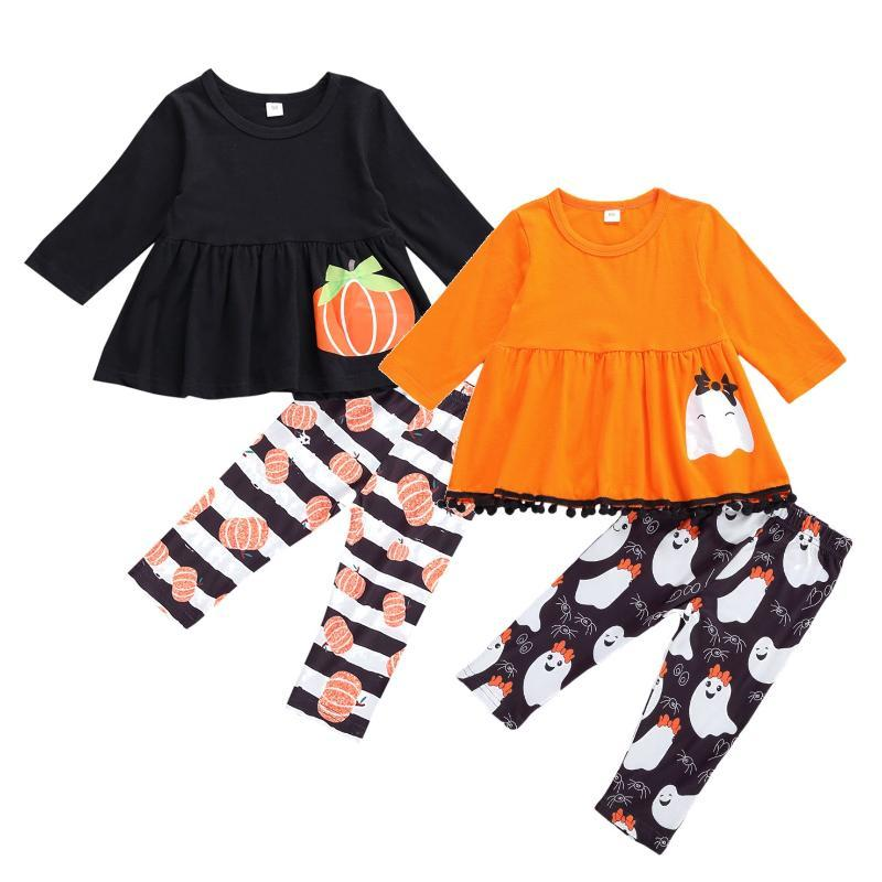 Clothing Sets 2021 Halloween Baby Girls 2Pcs Outfits Long Sleeve Pumpkin/Ghost Skirt-like Top+Cartoon Print Pants Toddler Clothes