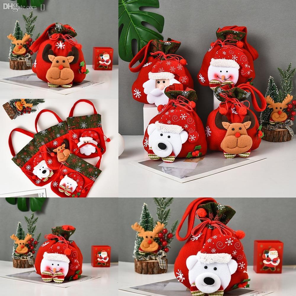 Ee6bR Подарочные Подарки украшения Санта Sack носки чулки Камин Xmas мешок Рождественский подарок Держатели носки Ткань Dropshipping