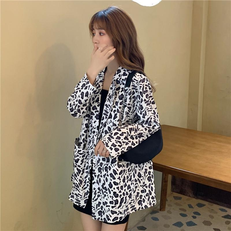 BGG6c 2BpJF ~ + Nueva capa de leopardo de dos piezas ~ Nuevo vestido vestido fino + delgada estampado leopardo chaqueta del traje traje de dos piezas