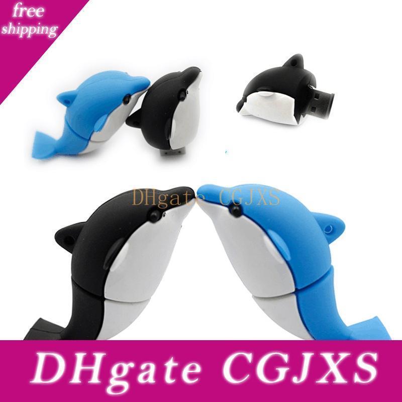 Fashion Design Real Capacity Cartoon Dolphin Usb Flash Drive 16gb ~64gb Usb 2 .0 Pendrive Memory Stick