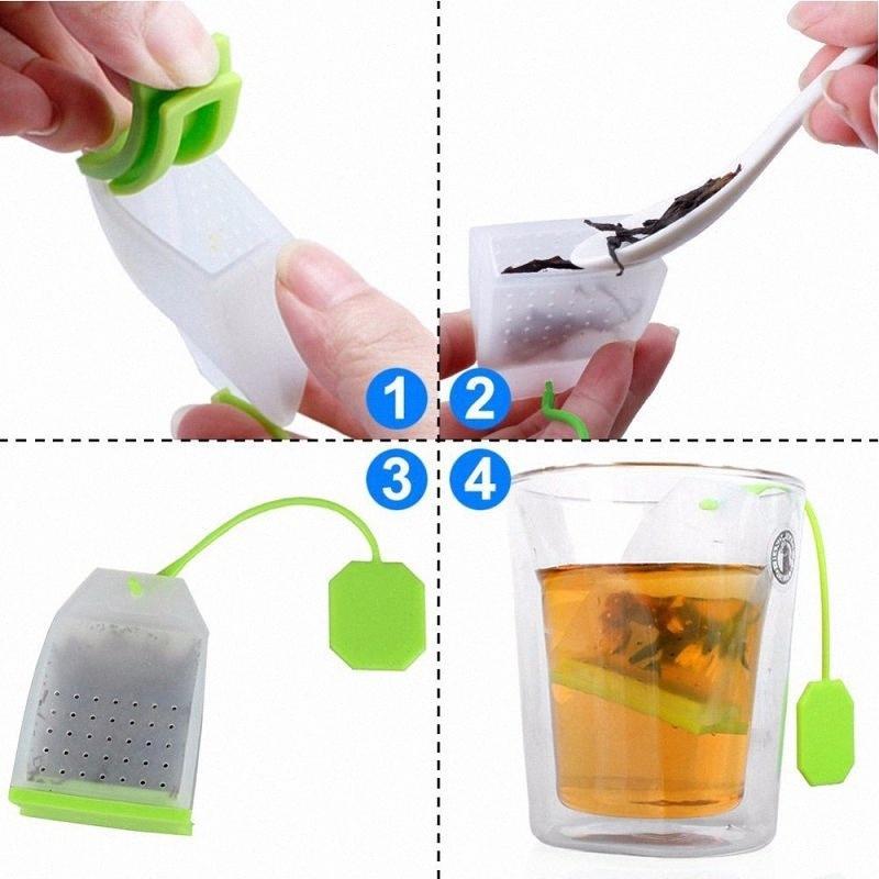 Ferramentas de chá de silicone Bolsa Silicone Tea Filtros Herbal Spice Perfumado partido Cozinha, Café, Chá cor aleatória lKCT #