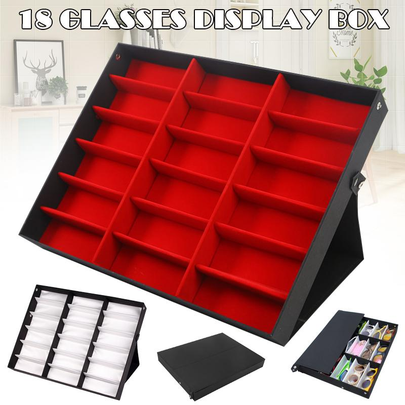 18 Slots Glasses Protective Box Case Sunglass Display Storage Tray Organizer TT@88