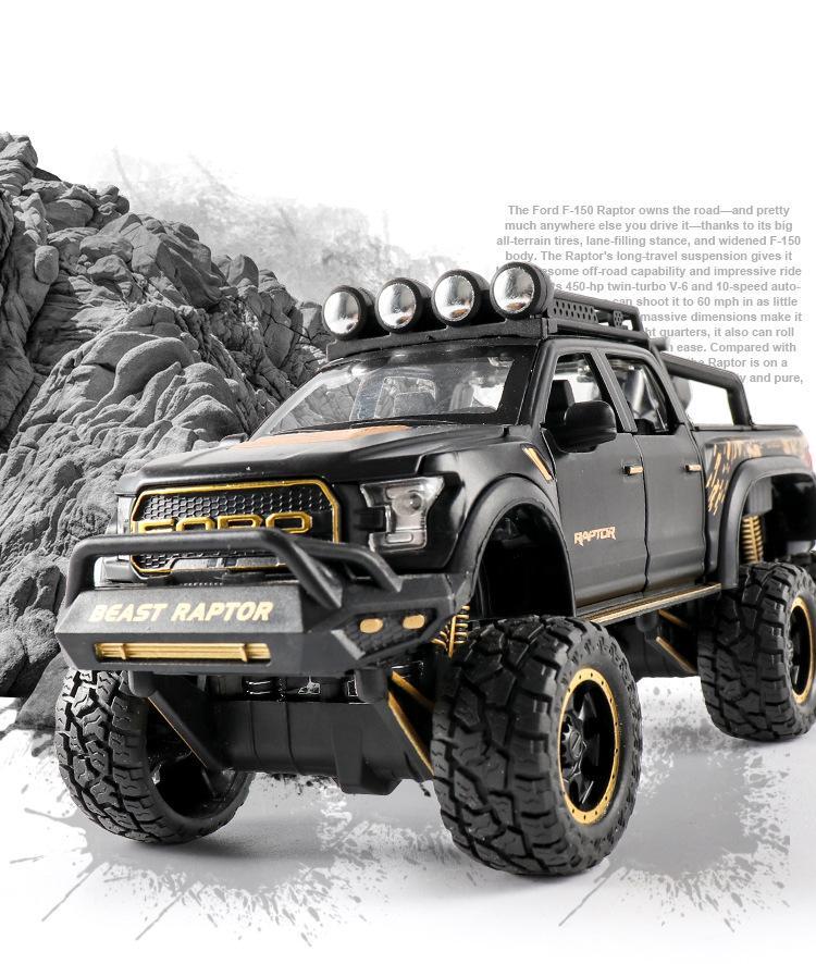 CZ Diecast Alloy Toy Model Car, Ford Raptor camionete, luzes de som, puxar para trás, 01:28, brinquedos crianças Ornament Xmas Kid aniversário educacionais