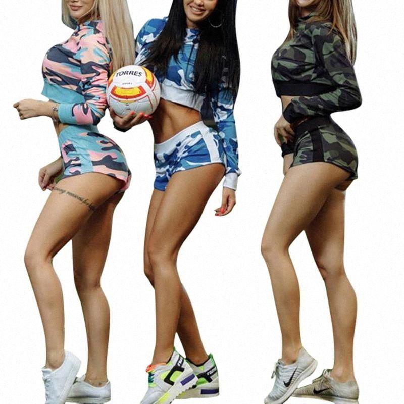 Para mujer 2 piezas de la impresión de Camo del chándal con capucha Establece cultivos más cortos de camuflaje Fitness Sports Wear fisuras Yoga Mujer Set de ropa c1fR #