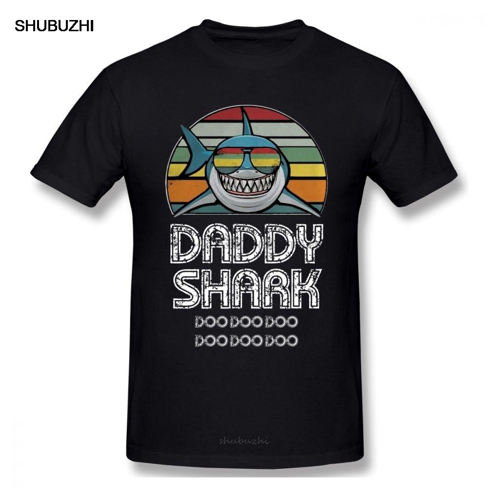 Папа Shark Retro Men T Shirt Summer Street Wear большого размера хлопка с коротким рукавом на заказ одежды для мужчин