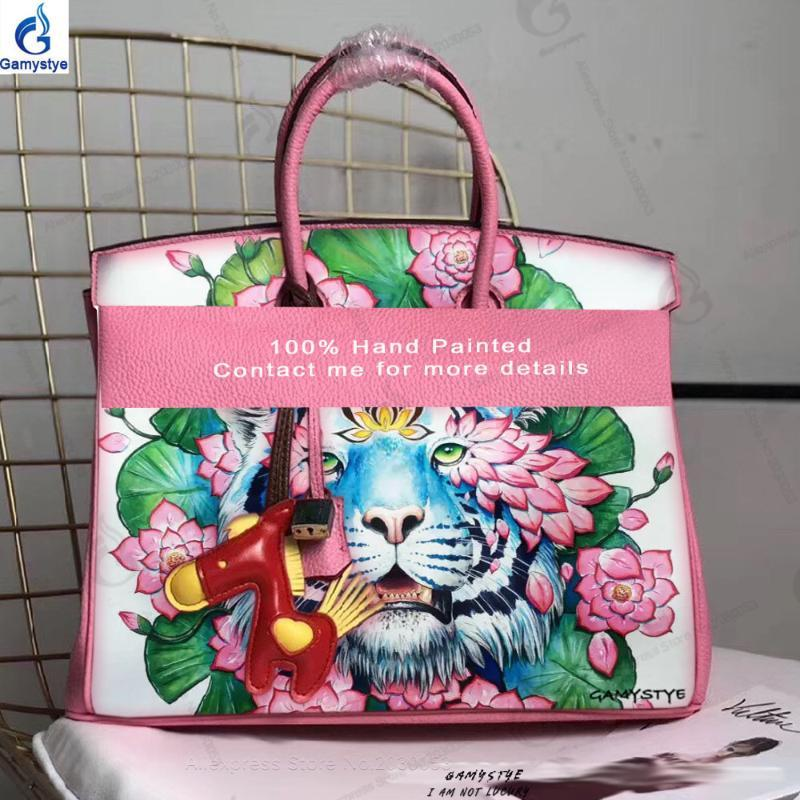 Hand painted ART White Tiger Women 100% Genuine leather bags for women 2020 handbag designer bag crossbody bags for classic