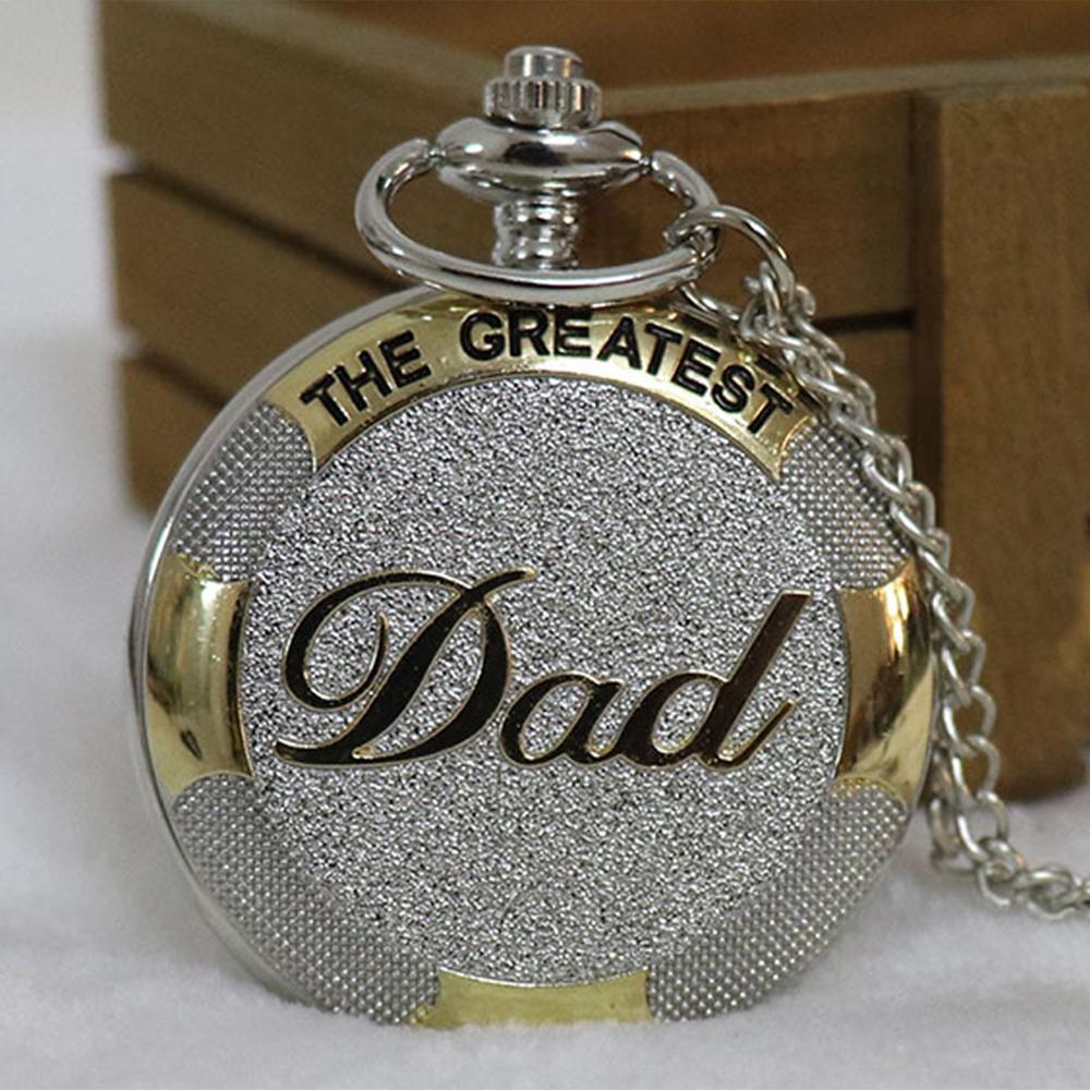 Ao grande pai do relógio de bolso de luxo Padres Sliver ouro cor dia de aniversário melhor presente Colar Relógio Homens papai Relógios Fob do sexo masculino cadeia Reloj