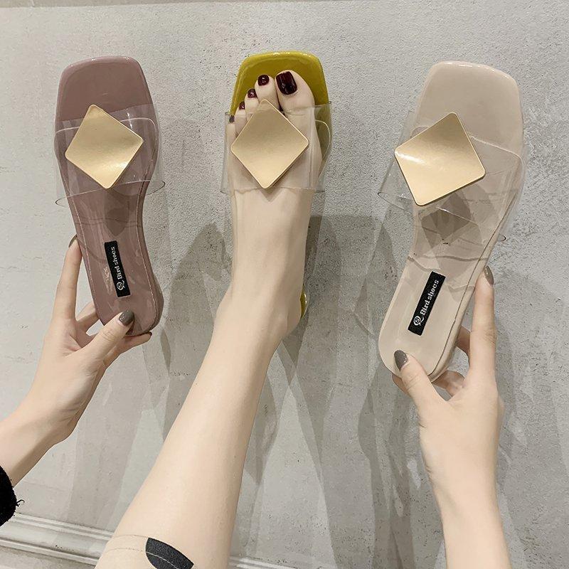 Chaussures Femme 2020 Chaussons Femmes d'été faible luxe Diapositives Shale Femme Plage pantofle doux Designer Sabot New Heels Rome Hoof