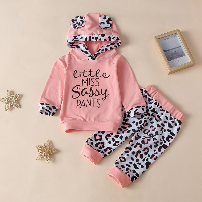 Toddler Baby Girls Cartoon Letter Leopard Print Hoodie Tops+ Pants Outfits Cute Ears Animals Hoodies Newborn Clothes bebes