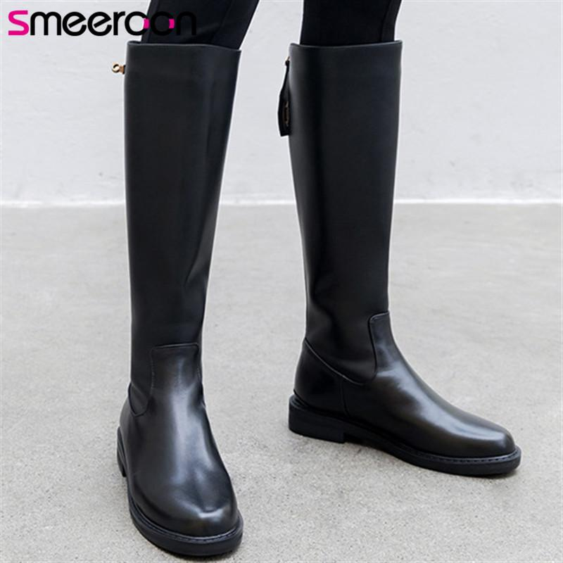 Smeeroon сексуальное колено высокие сапоги 2020 зима новый приход натуральной кожи женские сапоги обувь высокого качества круглые женщины носком