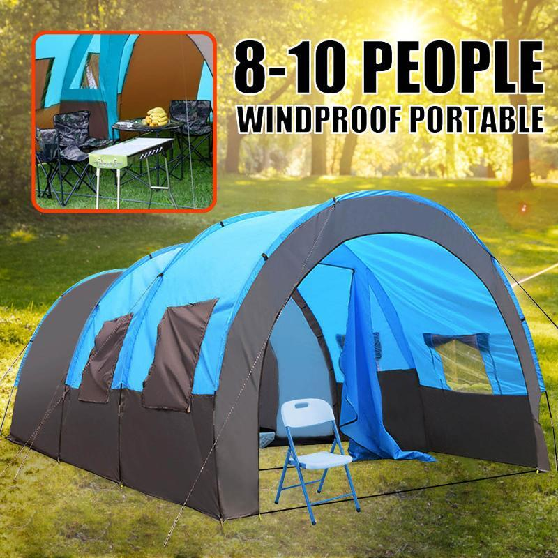 SGODDE 8-10 Pessoas impermeável portátil Camada de viagem Camping Caminhadas Duplo 480x310x210cm tenda ao ar livre para Big Family 4 estações