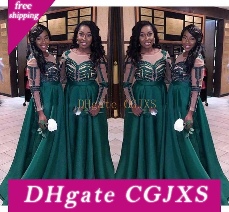 Nigeria vert foncé Robes de mariée pour le mariage 2017 Plus Size manches longues Femme de ménage d'honneur Robes Femmes Parti Robes formelles Custom Made