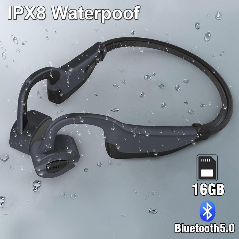K7 IPX8 nuoto impermeabile senza fili Bluetooth Cuffie Lettore MP3 Sport auricolare conduzione ossea auricolare Run Diving Earbuds microfono