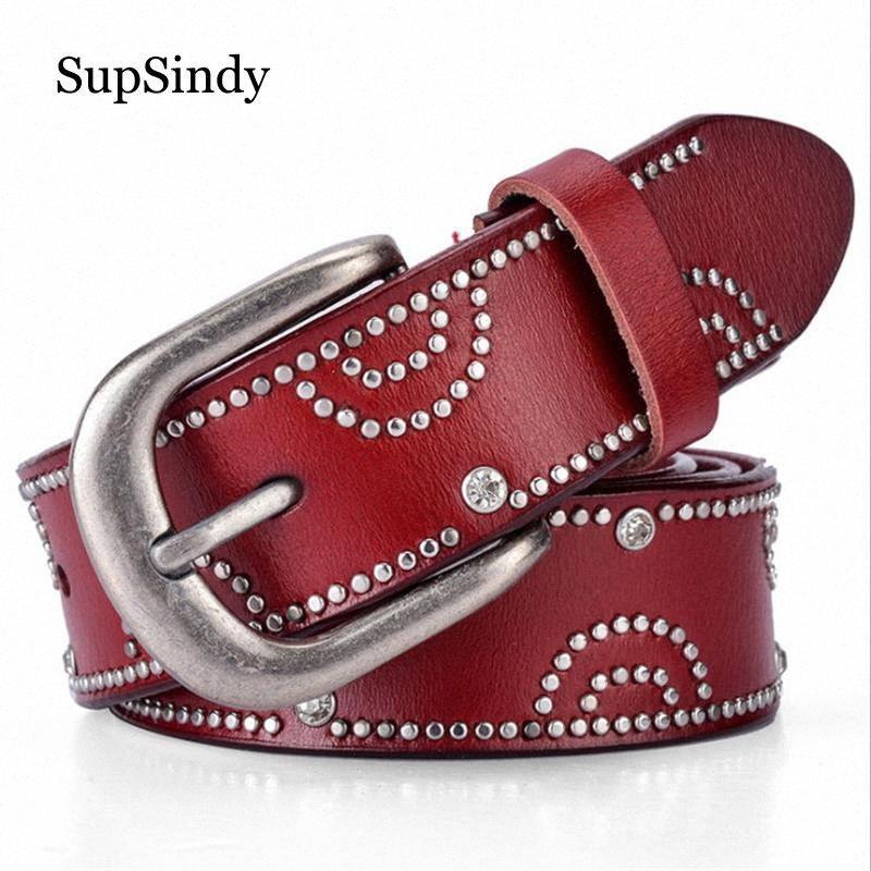 SupSindy delle donne calde del cuoio genuino cinghia punk strass Rivetti Cinture Cinture femminile cintura alta qualità delle donne di denaro cintura di, $ 14,6 V5oa #
